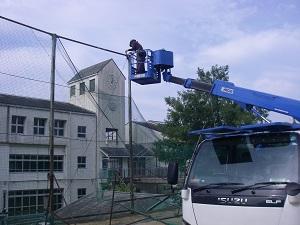 神戸市立須磨北中学校 防球ネット・ワイヤーロープ張替
